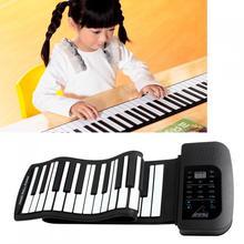Konix pa61 display digital recarregável 61 teclas 128 tons 128 ritmos crianças eletrônico flexível enrolar piano built-in alto-falante