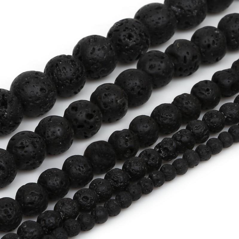 Venta al por mayor, 4/6/8/10/12mm, piedra volcánica negra, piedra de Lava sintética, cuentas redondas teñidas para fabricación de joyas, pulsera y collar DIY