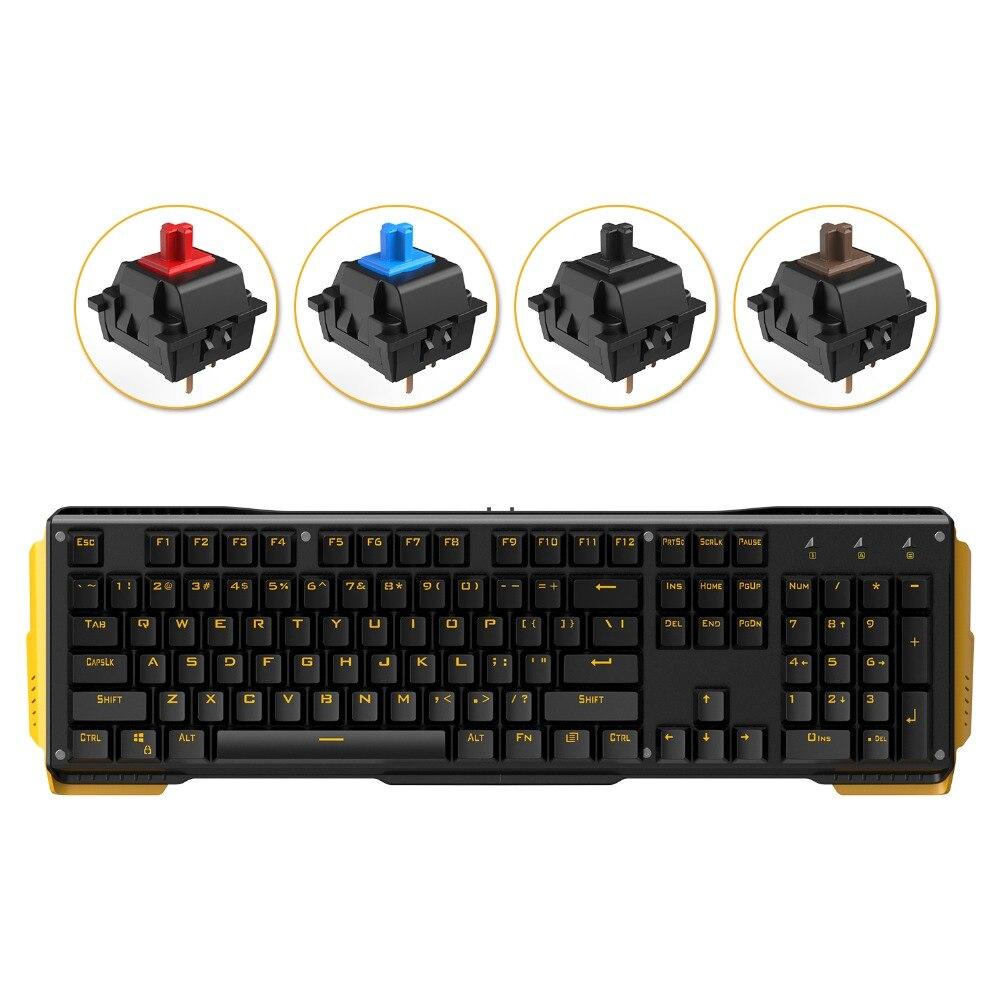 جيمس دونكي 619-لوحة مفاتيح ألعاب ميكانيكية ، 104 مفتاحًا ، مفاتيح Gateron ، USB ، سلكي ، إضاءة خلفية صفراء ، لماك ، كمبيوتر شخصي ، ألعاب ، CS LOL