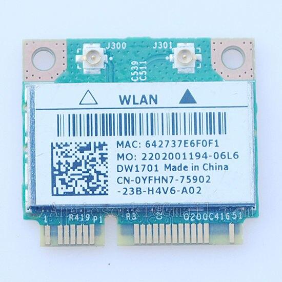 Wlan Wireless Mini Pci-e-karte für Dell YFHN7 DW1701 BCM94313HMGB 802.11bgn + BLUETOOTH 3,0 dell 15 17R 5521 3137 14R 1440 1450