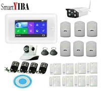 SmartYIBA     systeme dalarme de securite domestique sans fil  wi-fi 3G GPRS  Intercom sans fil  Flash stroboscopique  sirene RFID  activation  4 pouces TFT LCD