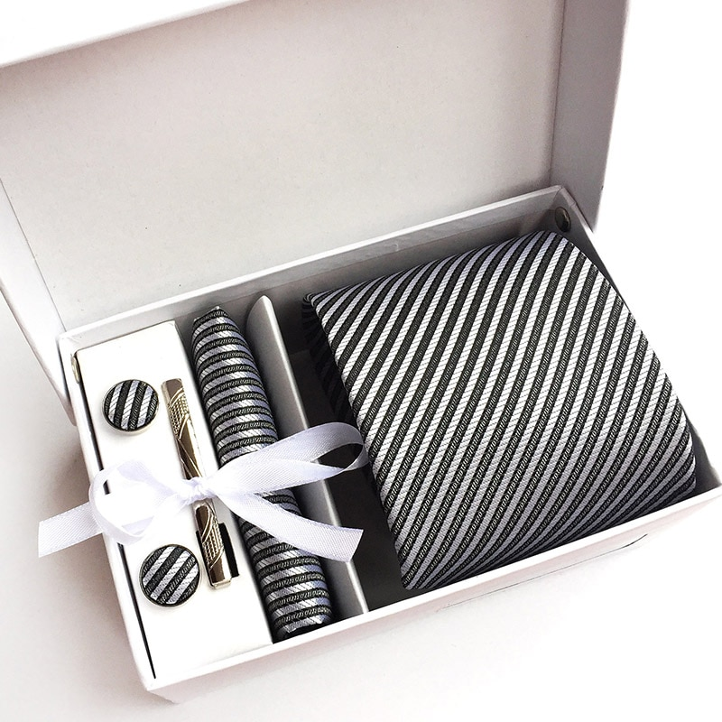 Conjunto Formal de corbata de trabajo de negocios, corbata gris, pañuelo cuadrado, gemelos, regalos para hombre, boda, fiesta, traje, corbatas con caja