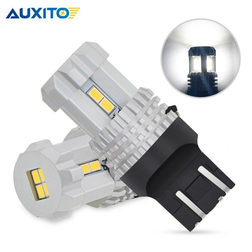 AUXITO W21/5W LED T20 Canbus 7443 No Error 7440 W21W LED Bulb For Lada Vesta Kalina Daytime Running Lights 6000K White Red 12V