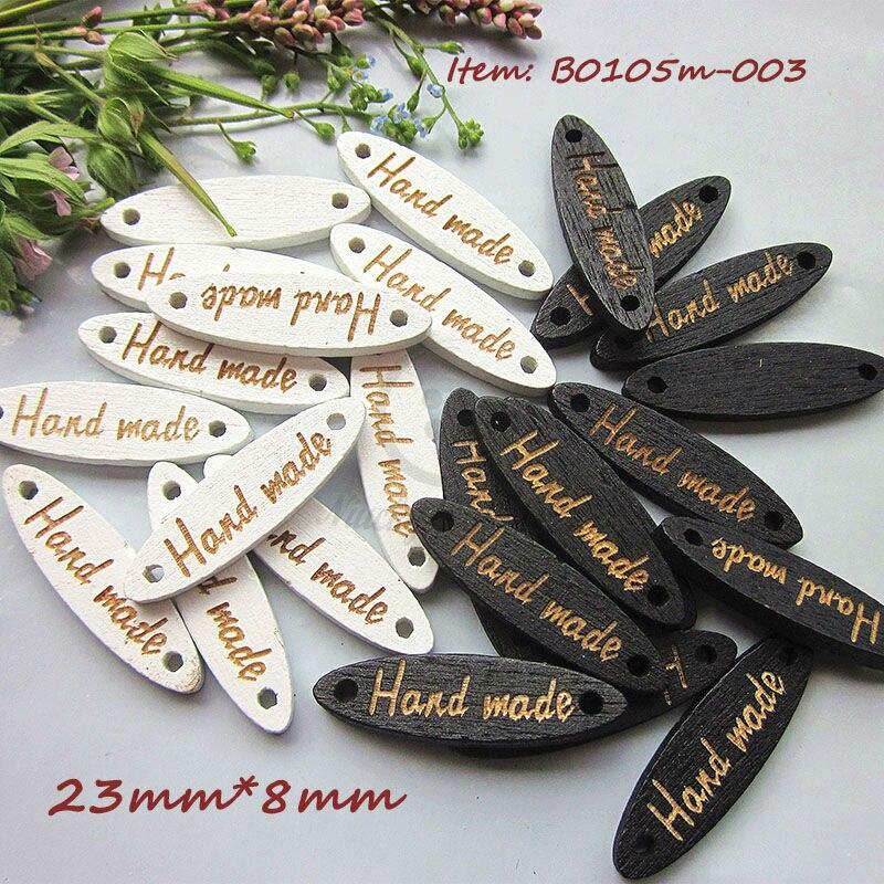 """250 Uds., botones de madera hechos a mano con ojos de Caballo Blanco/Negro, 23mm X 8mm, letreros láser con letras """"manuales"""" para materiales artesanales para bricolaje"""