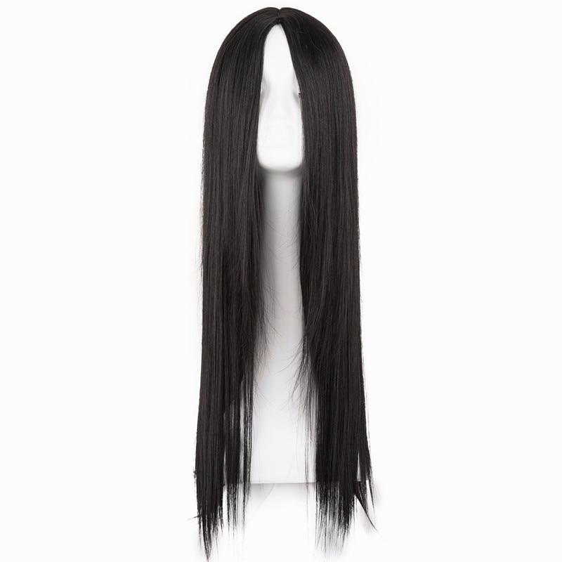 Peluca negra fei-show sintética resistente al calor, larga recta, línea de corte medio, disfraz de Cosplay, peluca para fiestas de salón de 26 pulgadas