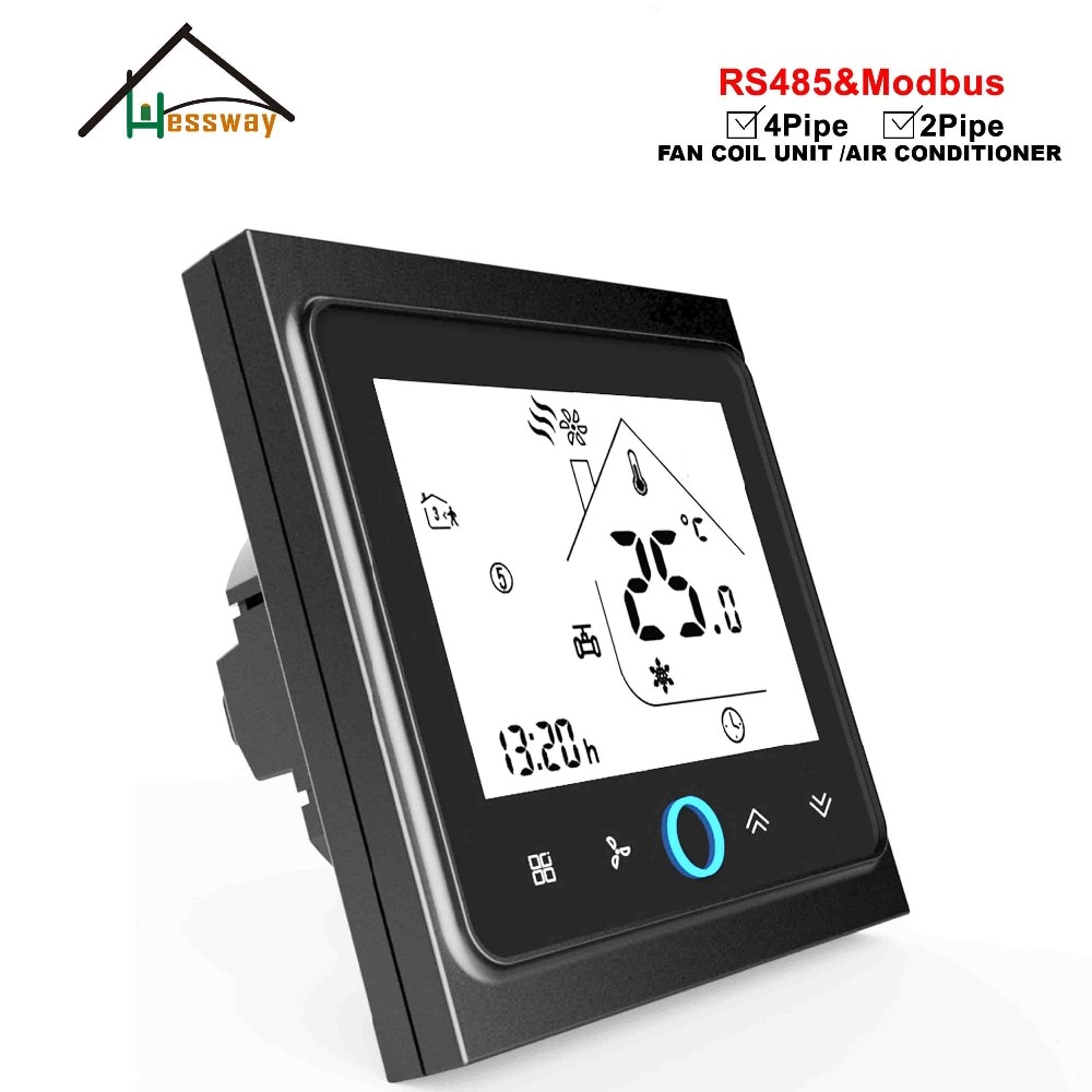 Unidad de bobina de ventilador de 4 tubos HESSWAY 0-10V ajuste proporcional termostato RS485 para Modbus International directive general