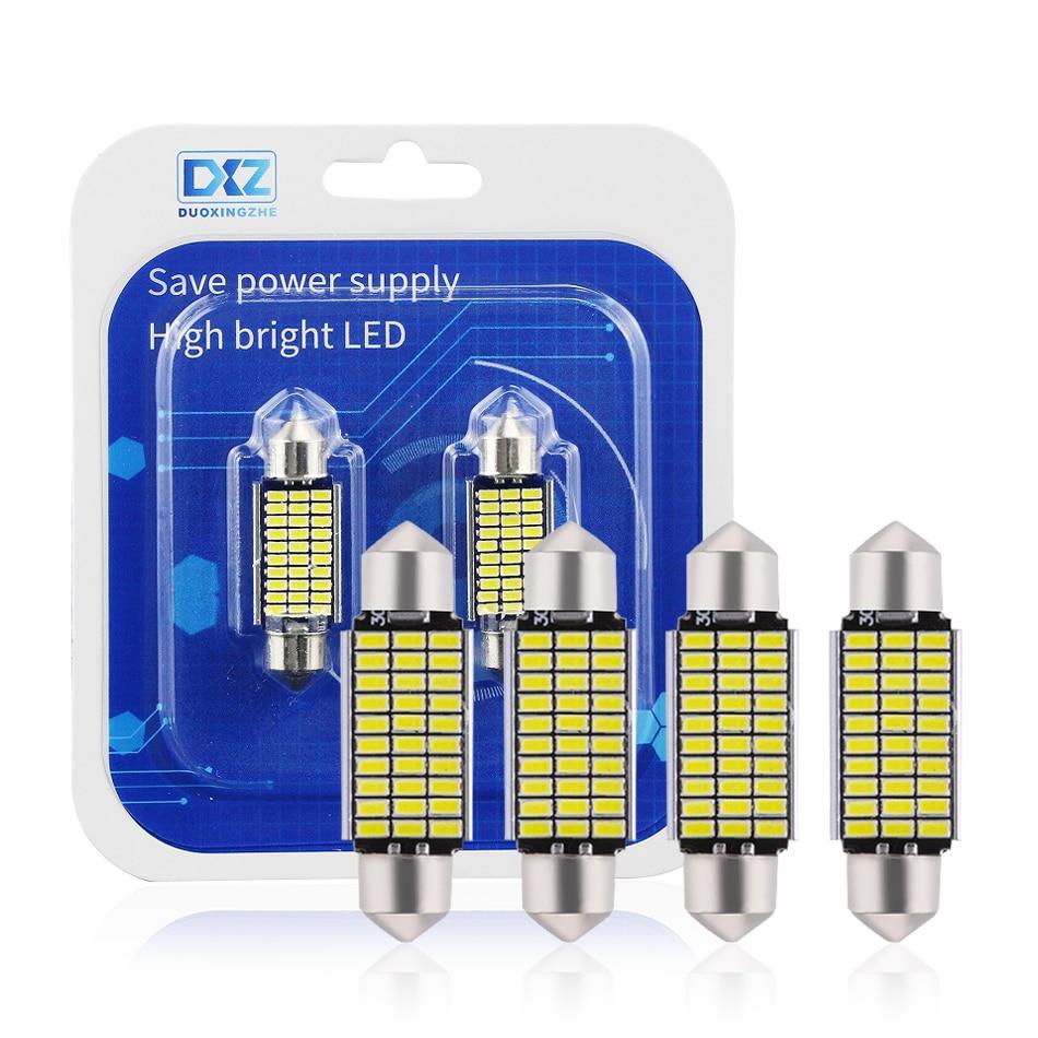 DXZ 2 uds 31mm 36mm 39mm 41mm C5W C10W 18 27 30 33 SMD 3014 luz LED Festoon CANBUS NO ERROR luz interior de techo para automóvil
