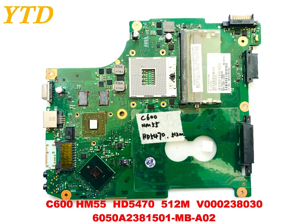 اللوحة الأم الأصلية للكمبيوتر المحمول توشيبا C600, HM55 HD5470 512M V000238030 6050A2381501-MB-A02 ، اختبار جيد ، شحن مجاني