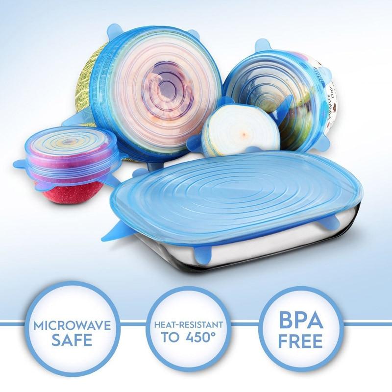 6 unids/set de tapa de plástico de silicona cubierta de microondas, horno, refrigerador vacío tazón fresco sello microondas mantenimiento fresco tapas