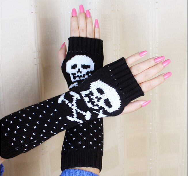 Fashion Lady Women's Cartoon Skull Knitting Acrylic Arm Sleeve Warm Warmer Gloves Outdoor Sports Gloves Autumn Winter