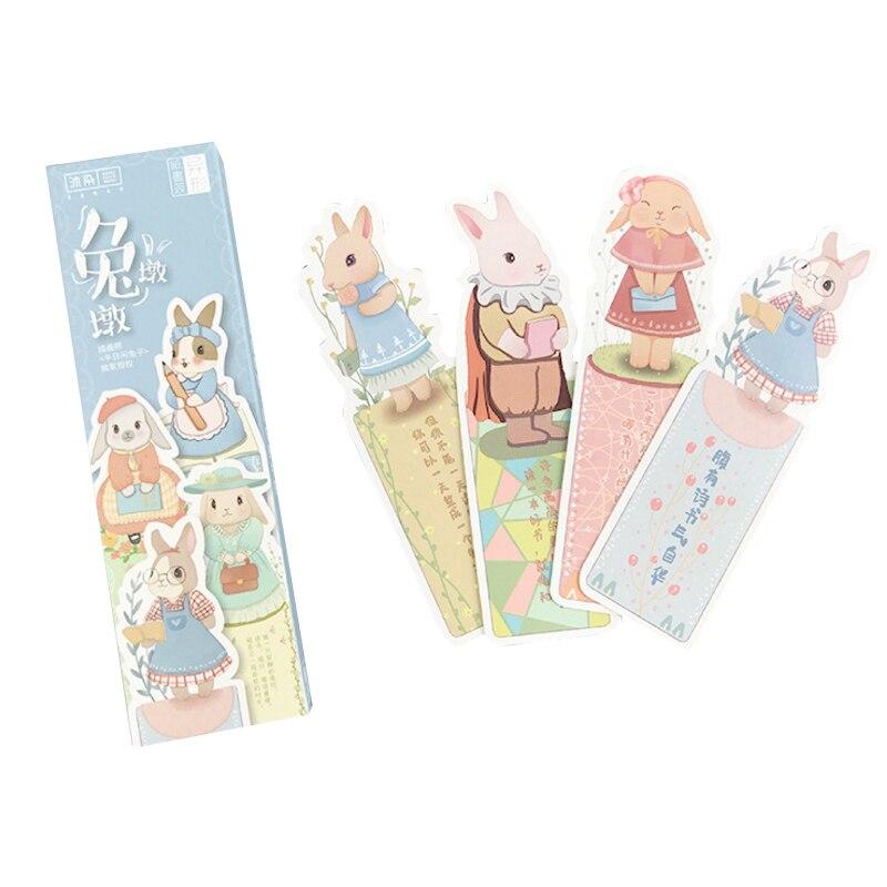 30 unids/caja lindo marcapáginas de conejo de dibujos animados papel de animales marcador libro regalo marcador de la Oficina de la Escuela de papelería