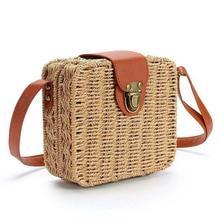 Fashion Women Girl Rattan Straw Bag Woven Square Handbag Crossbody Beach Summer Shoulder Bags