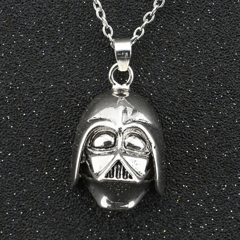 Star Wars Necklace Darth Vader Dark Lord Anakin Skywalker Helmet Vintage Antique Silver Color Pendant Movie Jewelry Wholesale