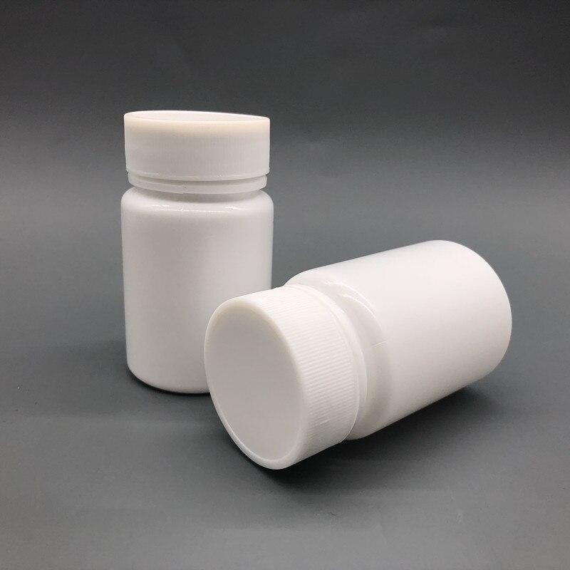 100 + 2 unids/lote 60ml 60g 60cc HDPE botellas de plástico vacías blancas para píldoras farmacéuticas envases para cápsulas medicinales con tapas y selladores