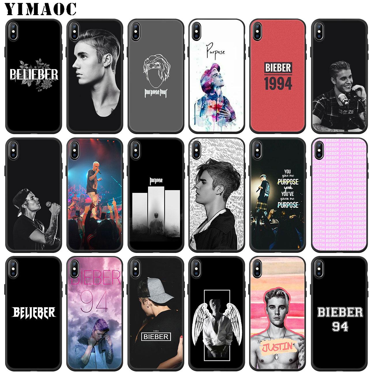YIMAOC Justin Bieber Caso de Telefone Silicone Macio para o iphone 11 XS Pro Max XR X 6 6S 7 8 além de 5 5S SE 10 TPU Capa Preta