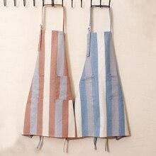 Tablier de cuisine en coton 100%   Tablier de cuisine à rayures/grilles pour femmes et hommes avec serveurs de poche, tabliers de travail