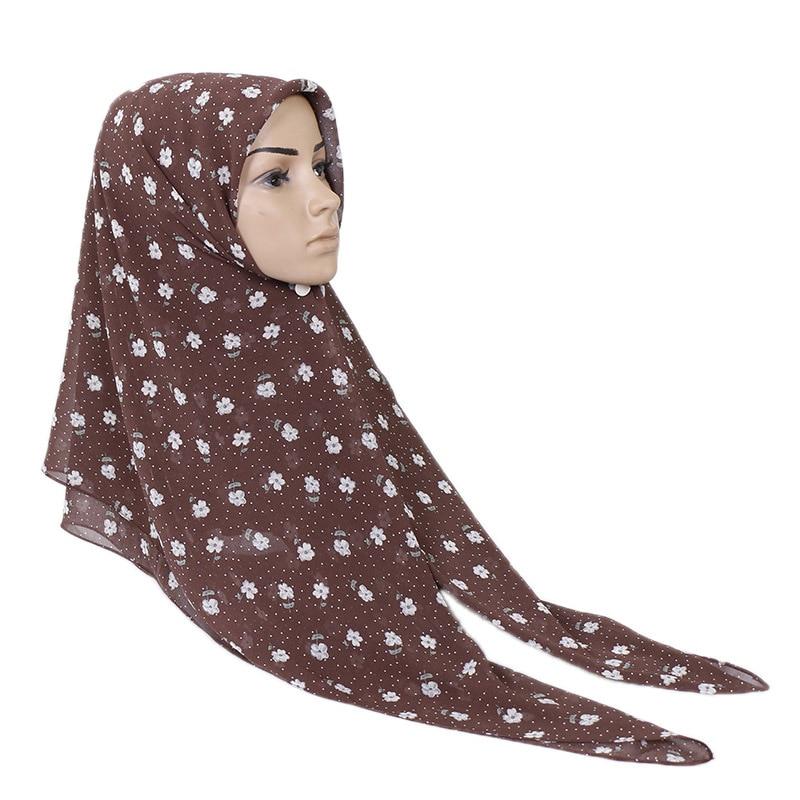 Châle en mousseline de soie à fleurs   Plaine, Polka, mousseline de soie, Hijab instantané, Maxi Wrap, mode islamique, Sjaal, 2019x75Cm