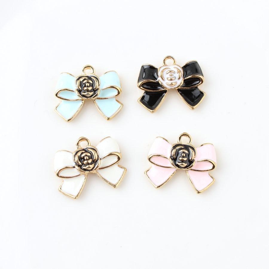 10 unids/lote arco abalorios de gota de Metal colgante esmaltado con encanto para DIY pulsera collar aretes de joyería
