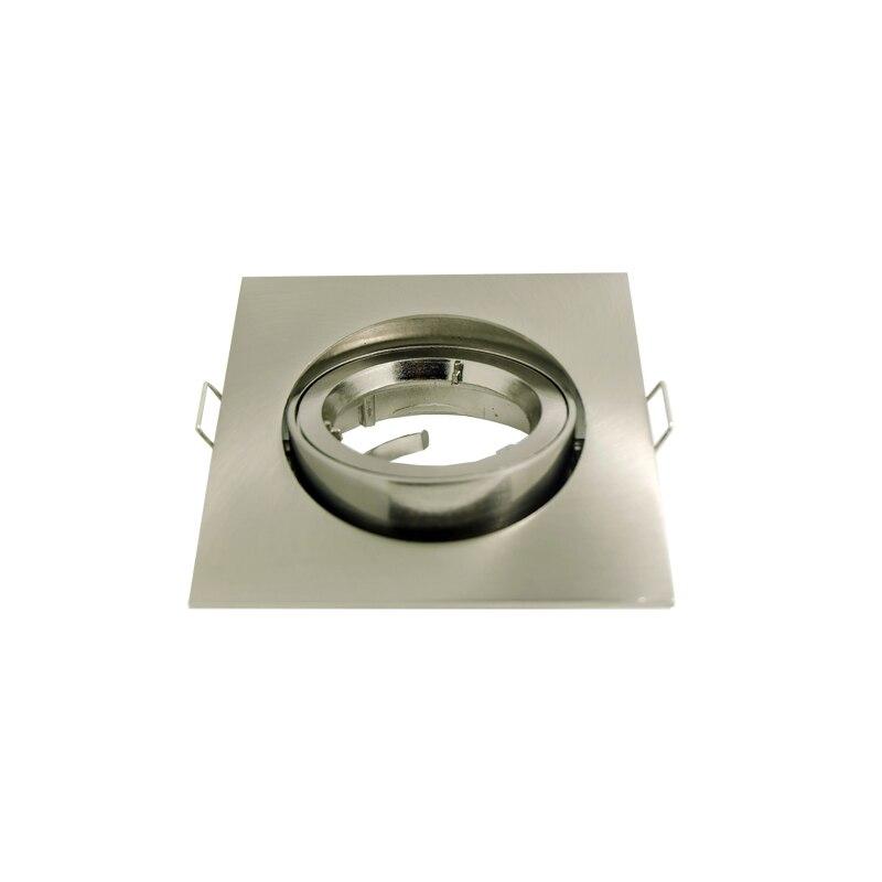 10 unids/lote cuadrado níquel Luz LED De Techo empotrable marco ajustable para GU10 MR16 E27 bombilla lámpara vivienda
