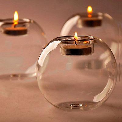 Portavelas de cristal hueco redondo de estilo europeo, candelabro de boda, candelabro de cristal transparente fino, candelabro para comedor, decoración del hogar