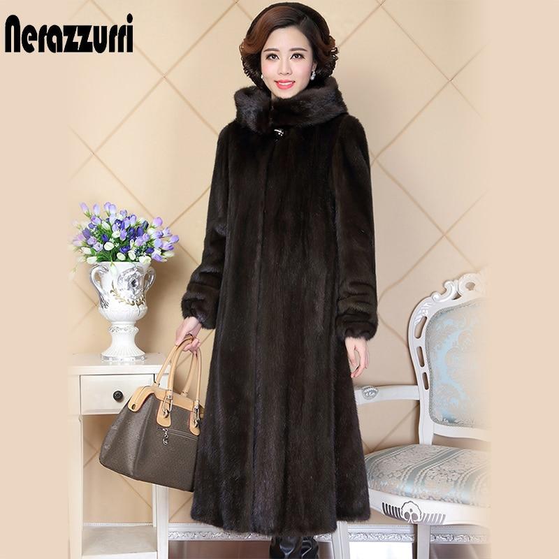 Nerazzurri abrigo de piel auténtica de visón para Mujeres de china de manga completa grueso cálido LARGO DE Abrigos de piel natural con capucha de talla grande 5xl 6xl