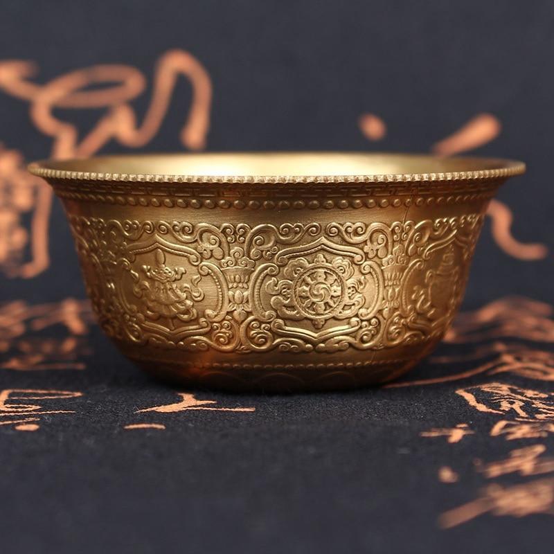 TNUKK TNUKK KiWarm רטרו CopperBowl טיבט הטיבטי בודהה הבודהיסטי מציע WaterBowl BuddhaSound כוס קערת קערות Hom DecorCraftsG