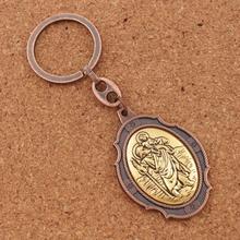 Porte-clés Saint-christophe médaille Patron Saint des voyageurs automobilistes-2 pouces Auto voiture Protection porte-clés K1741 12 couleurs