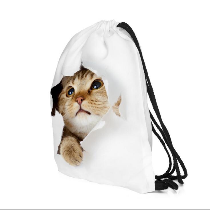 Fedex-حقيبة ظهر برباط على شكل قطة بيضاء للبنات ، حقيبة ظهر مع طباعة حيوانات ثلاثية الأبعاد ، حقيبة مدرسية ، 50 قطعة