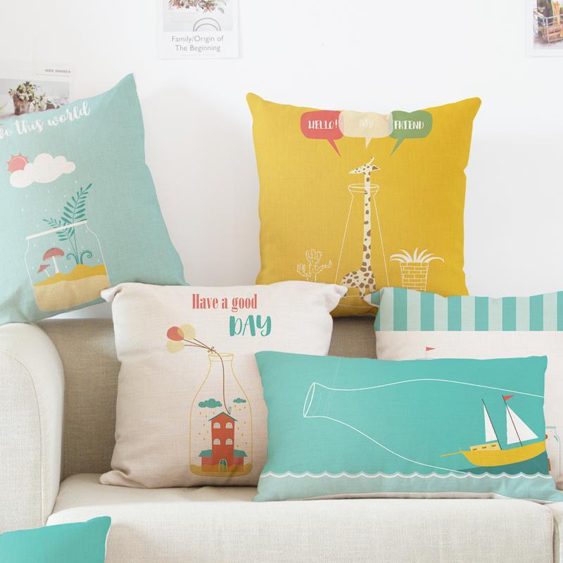 Современный минималистичный милый мультяшный Подушка цветная бутылка Жираф лодка домик свеча воздушный шар Пледы Подушки подголовник для дома детская комната