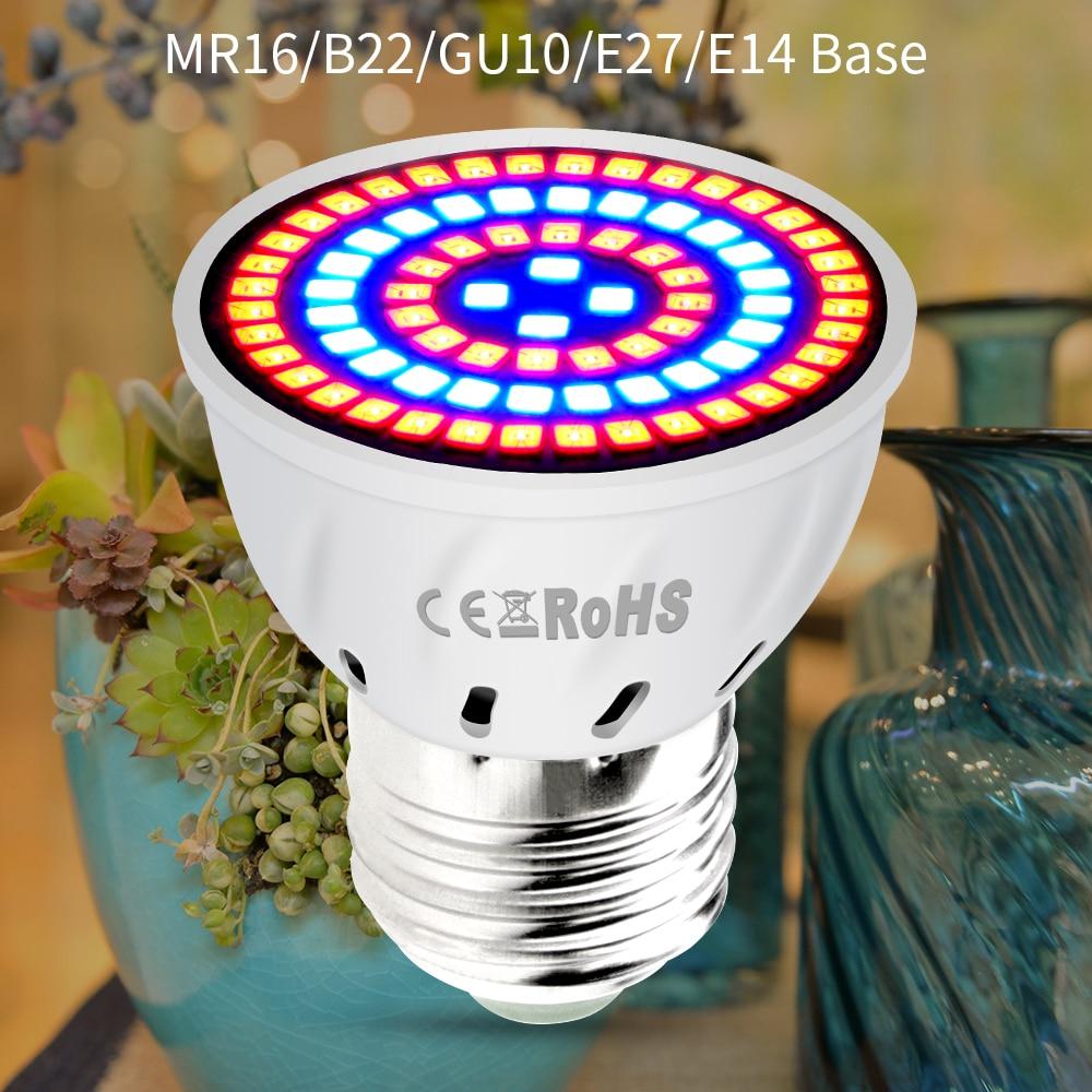 AC220V E27 Phyto Lampen E14 Led Fitolampy GU10 Lampe Für Pflanzen B22 Volle Spektrum Sämling Birne MR16 Led Wachsen Licht UV IR 4W 6W 8W