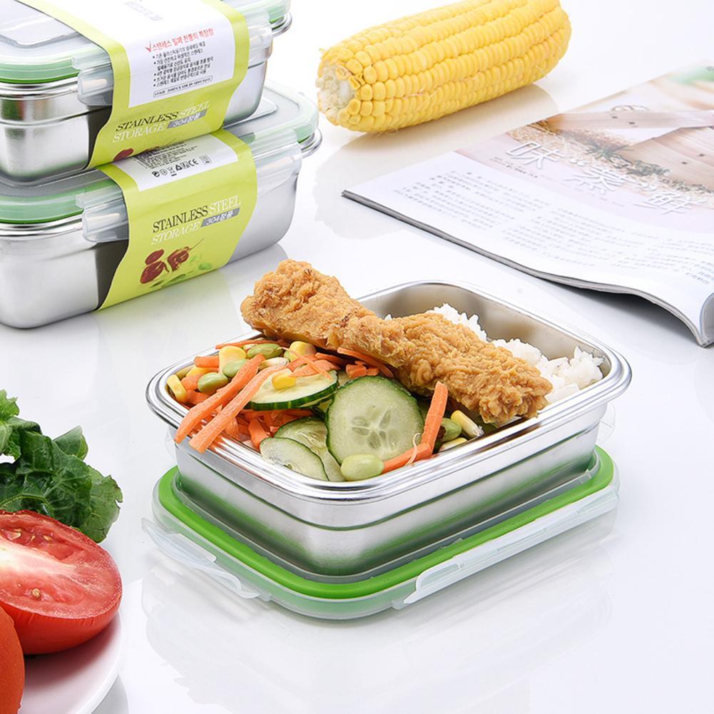 Caja de almacenamiento de acero inoxidable caja de almuerzo Rectangular caja Bento a prueba de fugas caja de comida de Picnic portátil de cuidado fresco