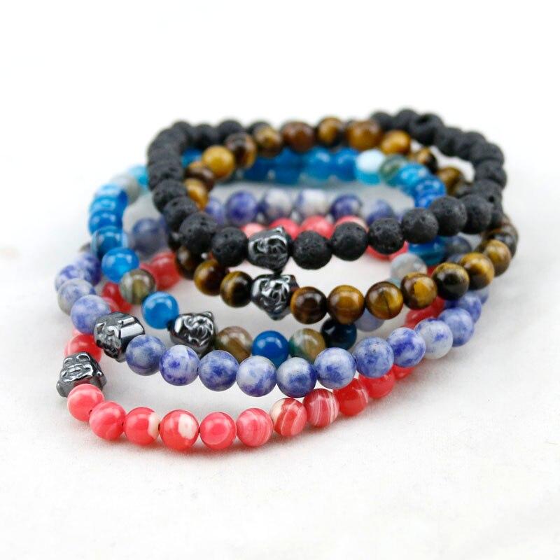 19 Estilo Natural Pedra Redonda Beads Pulseiras Mulheres, Olho de Tigre/Onyx Buda Pulseiras Homens, Pulseiras de madeira, Pulseira Yoga