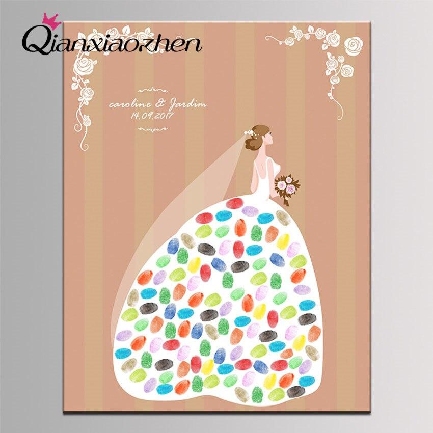 Qianxiaozhen, libro De invitados De Boda con huella dactilar personalizado Para novia,...
