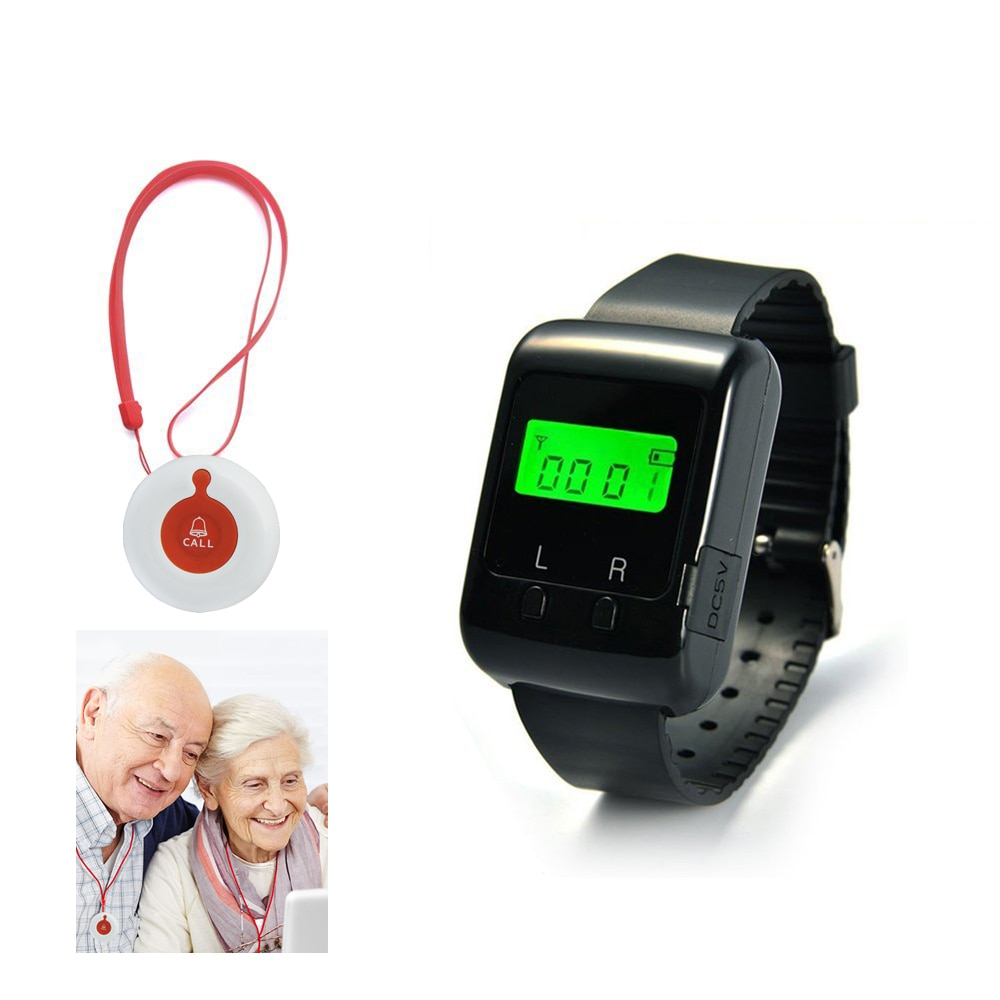 Wireless Nurse Calling System For Elder Patient Pendant Nursing Home With 1 Watch Pager And 1 Waterproof Button 433.92MHZ