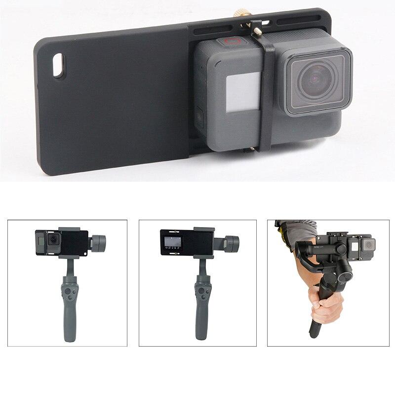 Cámara adaptador de placa de montaje para GoPro héroe 7 6 5 4 Yi 4K DJI Osmo 2 3 Gimbal de Zhiyun Suave 4 cardán portátil