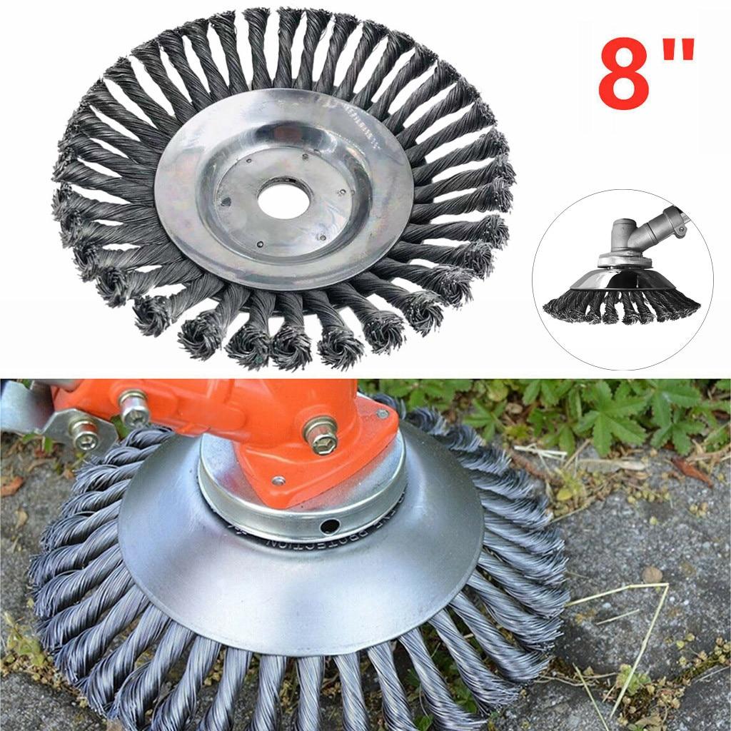 Pulgada rueda de alambre de acero cortador de césped de acero PRO cepillo de hierba de jardín cortacésped Razors cortacésped Eater Trimmer cepillo herramientas