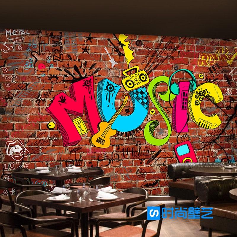 Papel tapiz de foto 3D estilo europeo Arte Creativo música graffiti imitación ladrillo papel tapiz bar estudio de música papel tapiz mural