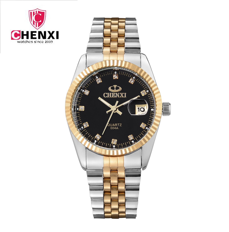 Relojes de lujo de marca de oro CHENXI para hombre, relojes de pulsera de acero completo, reloj Casual a prueba de agua con calendario, reloj masculino para mujer