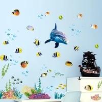 Autocollant mural etanche pour salle de bain  cuisine  ocean  eau profonde  decor de maison  poisson dauphin  sparadrap decoratif pour chambre denfants