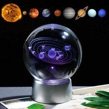 Boule cadeau système solaire en cristal   Boule de planètes en verre et colorées rechargeables, cadeaux de fête pour Astrophile