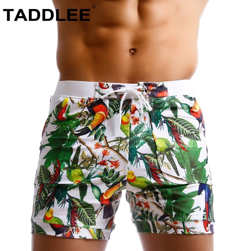Marca Taddlee, traje de baño para hombres, bañadores de corte brasileño para hombre, Boxers sexis para nadar, tabla de surf, pantalones cortos de playa, bañadores Gay de cintura baja, novedad