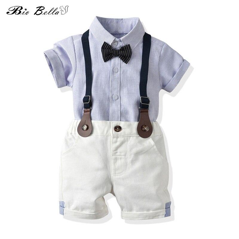 Conjuntos de verano para niños camiseta informal azul a rayas + Pantalones cortos con tirantes conjunto suave pantalones con peto con pajarita conjuntos de ropa para niños