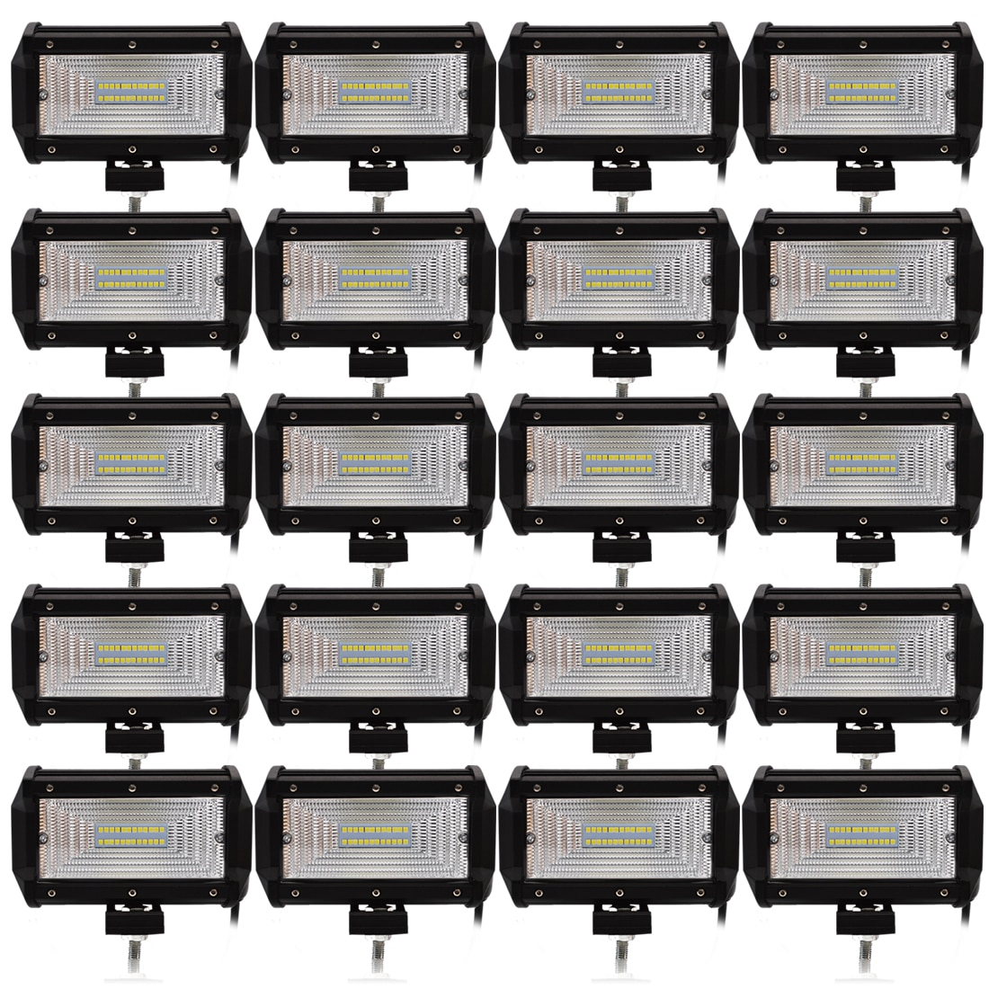 Safego 20pcs 5 Inch 72W LED Flood Work Light 24*3W LED Chips Offroad Car Light Fog Light Driving Light For Trunk Boat Tractor