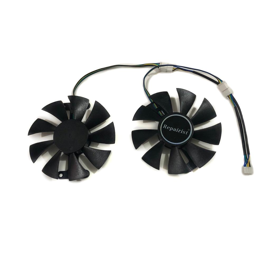 Repairist 2 unids/lote PowerColor dragón rojo RX-580 GPU gráficos enfriador VGA ventilador para Radeon RX 580 con 4GB GDDR5 hacha RX580 Video de refrigeración