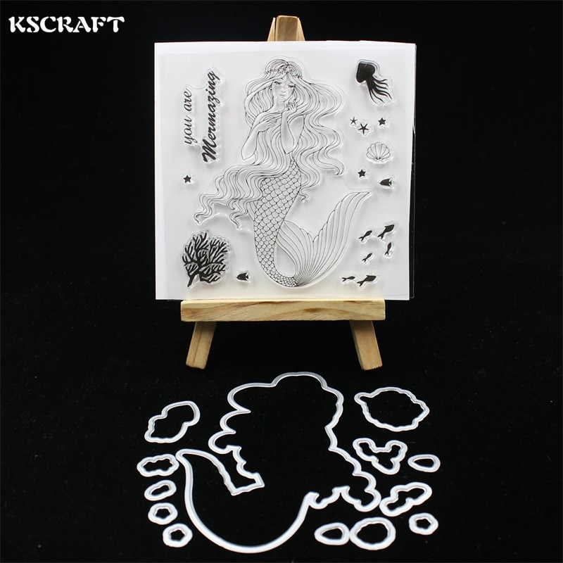 KSCRAFT Beauty Mermaid Stamp Metal Cutting Dies for DIY Scrapbooking/Card Making/Kids Fun Decoration Supplies