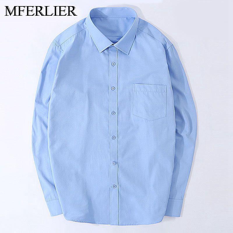 MFERLIER Printemps Automne Lâche hommes chemises 5XL 6XL 7XL 8XL 9XL 10XL Buste 150 cm hommes chemises de grande taille 11 couleurs