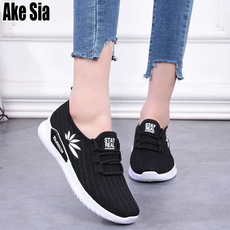 Ake Sia mujeres femeninas Footware moda tejer malla de aire de encaje Up Plimsolls Zapatillas caminar suela plana suave zapatos casuales A410