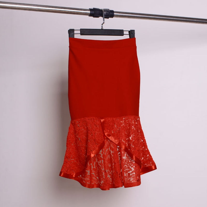 sequined high low hem fish tail skirt 2018 lace decoration slim high waist fish tail slim hip skirt spring and autumn bust skirt irregular sweep slim hip skirt