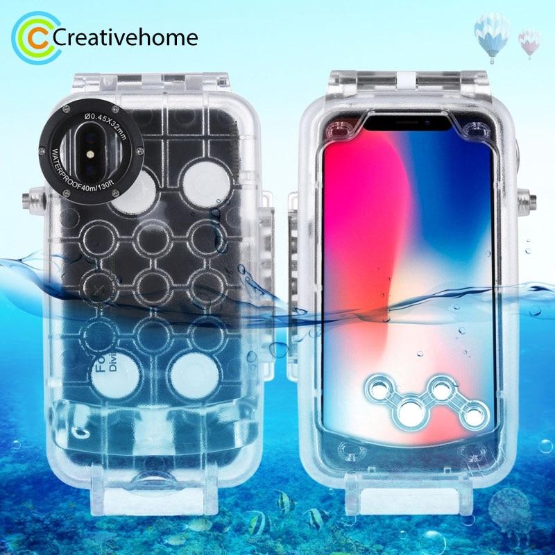 جراب واقٍ احترافي مقاوم للماء لهاتف iPhone x ، جراب واقٍ مقاوم للماء لهاتف iphone XS ، 40m/130ft