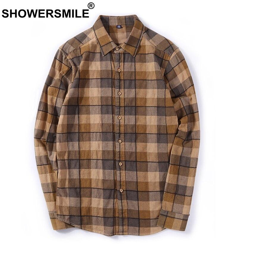Showersmile marrom xadrez camisas dos homens flanela casual manga longa camisa masculina algodão fino ajuste xadrez outono estilo britânico roupas